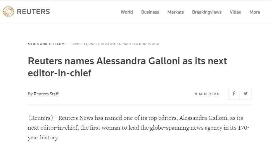 alessandra galloni reuters prima donna italiana