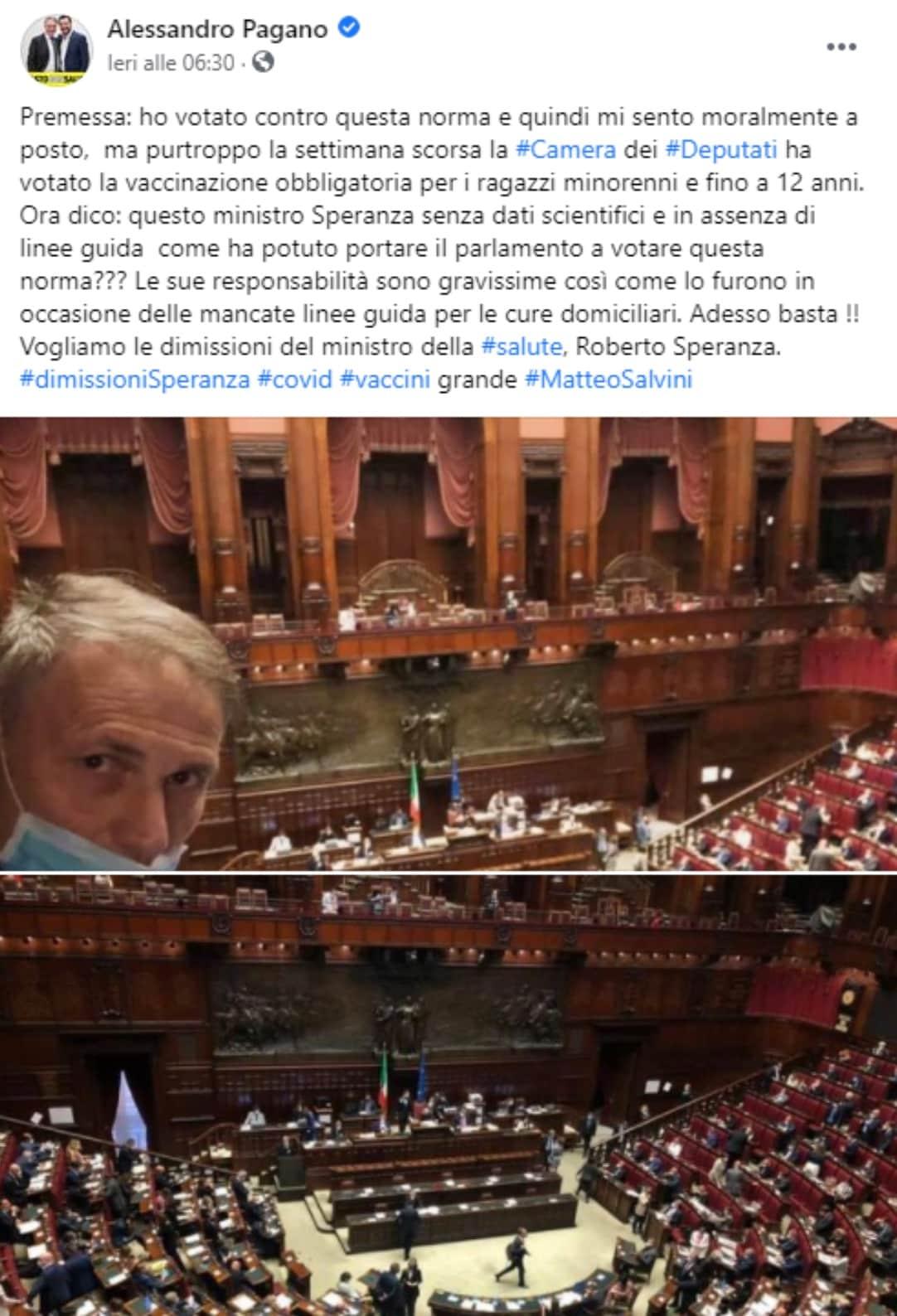 Alessandro Pagano, post Facebook