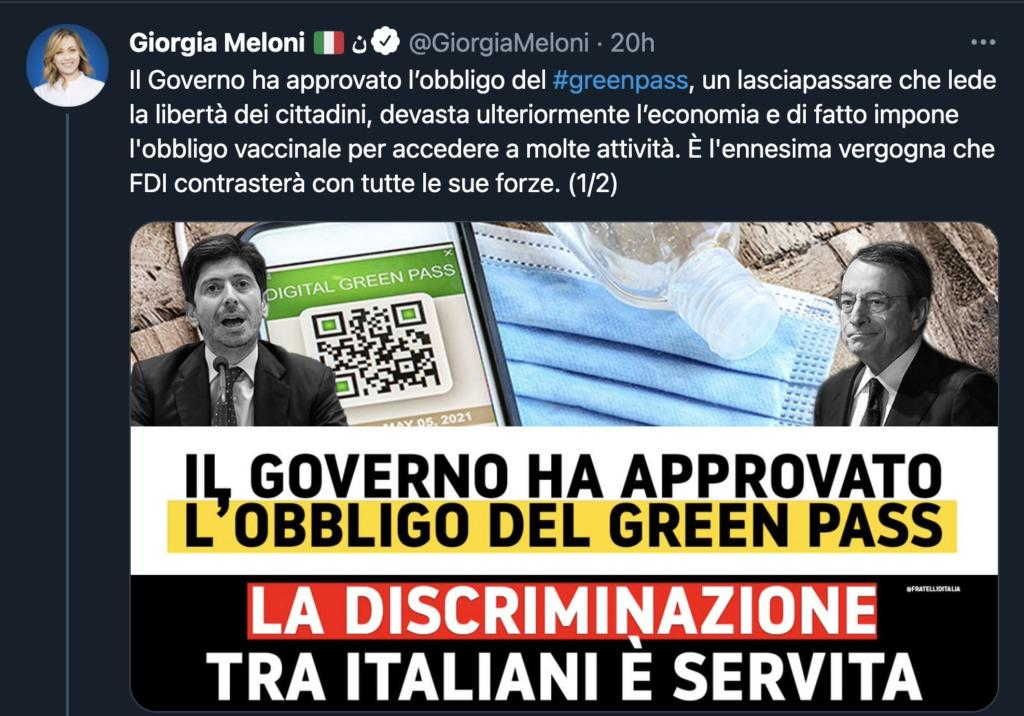 Giorgia Meloni contro Green Pass