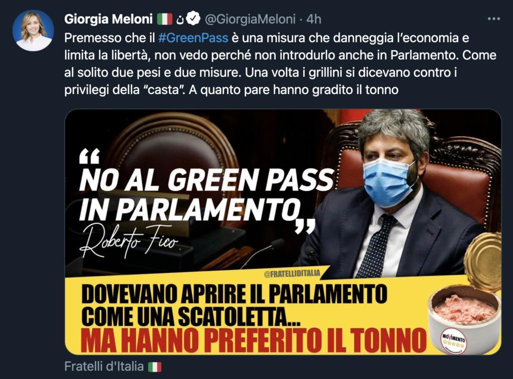 Giorgia Meloni contro il Green Pass