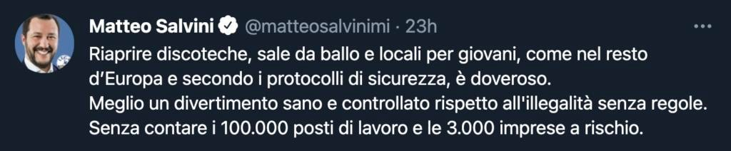 Salvini tweet Green pass 1