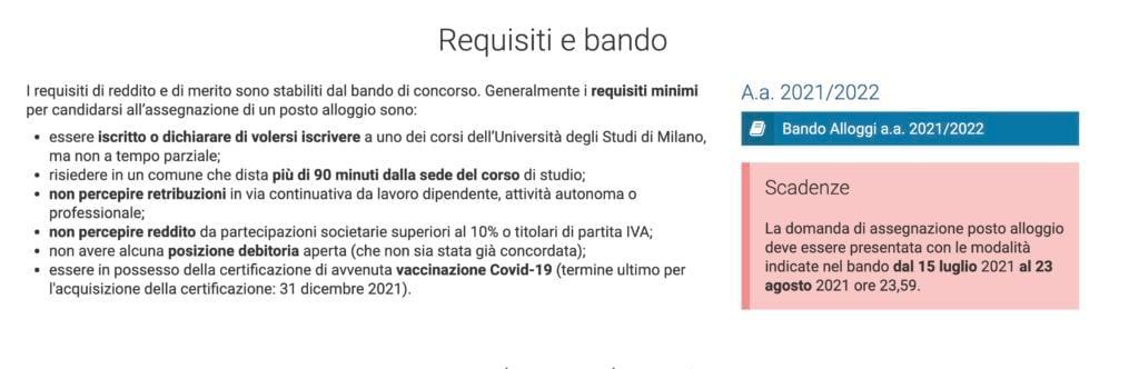 Statale di Milano, bando alloggi