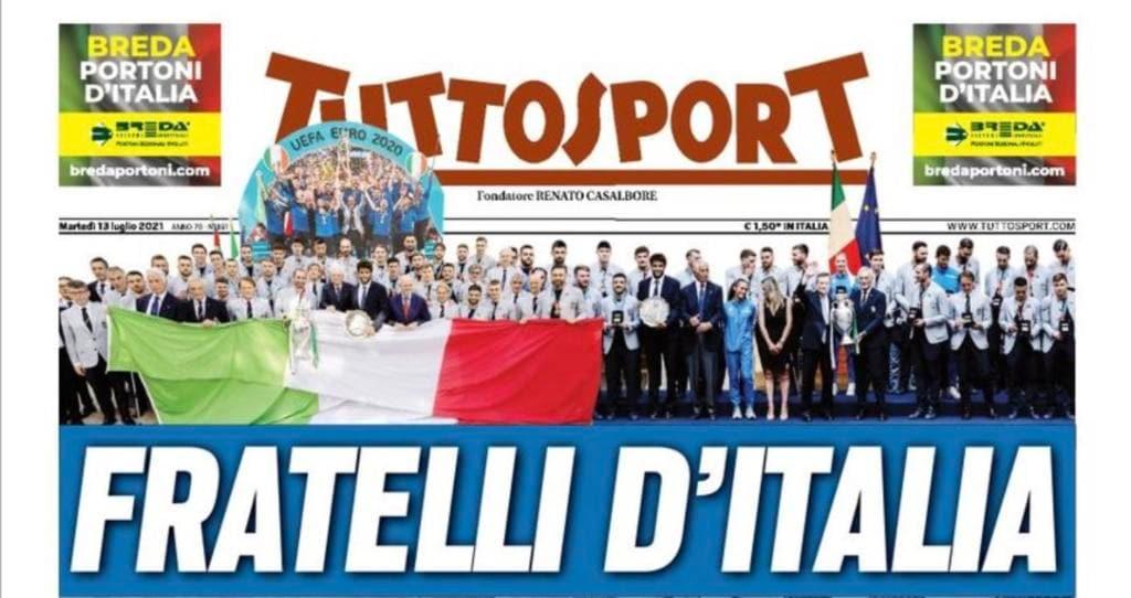 Titolo Tuttosport Fratelli d'Italia