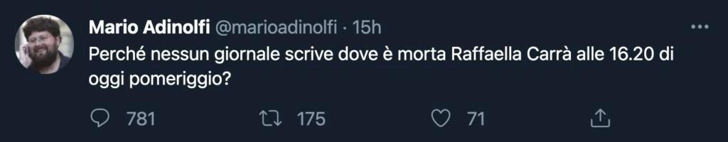 Tweet Adinolfi Carrà