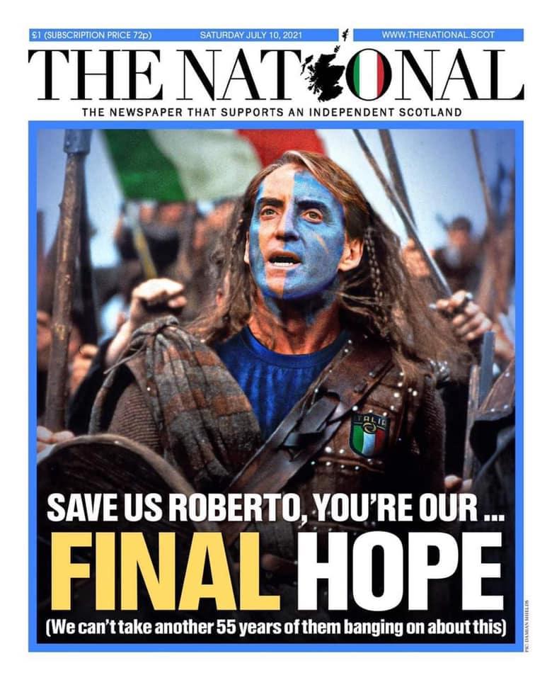 Mancini-Braveheart: la prima pagina del giornale indipendentista in Scozia