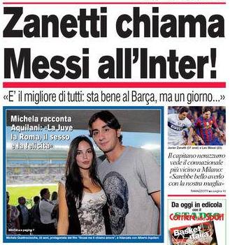 Quello tra Messi e l'Inter è un vecchio amore. Un po' come quello tra Michela e Aquilani.