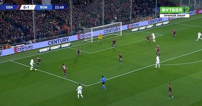 Genoa-Roma 1-3 cross