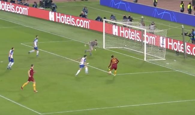 gol di Zaniolo in Roma-Porto