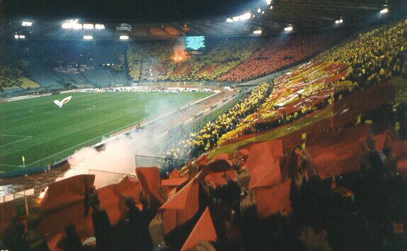 Roma-Slavia Praga Stadio Olimpico coreografia