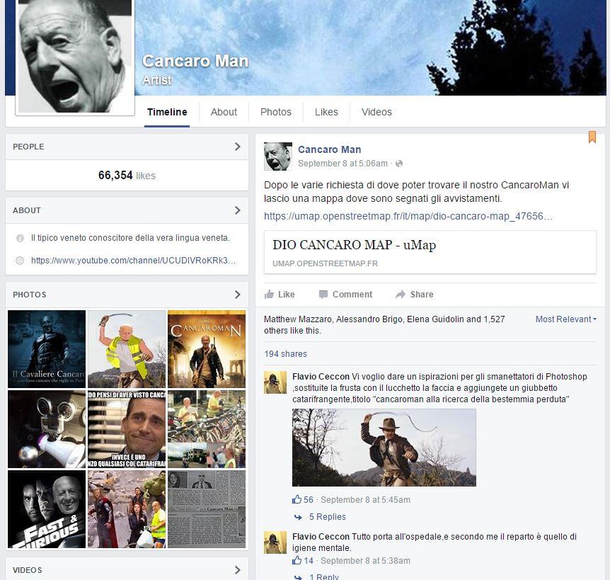 La pagina Facebook ora cancellata dedicata a Cancaro Man