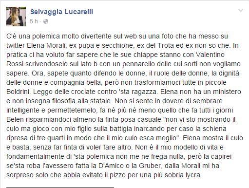 La Lucarelli sta con la Morali raga, chiudete tutto
