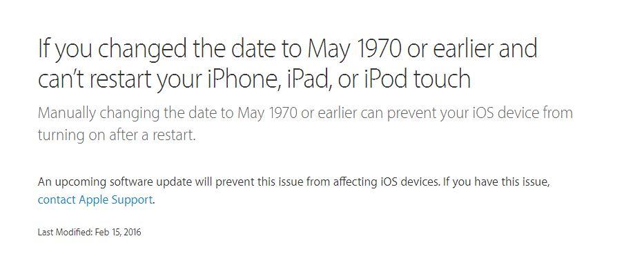 apple iphone 1 gennaio 1970 errore - 1