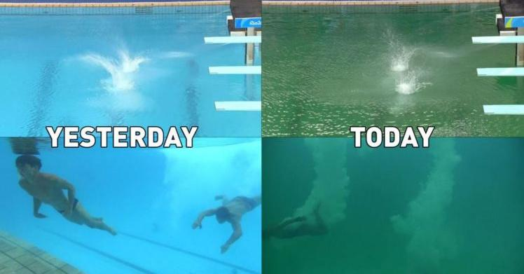 Ecco perch la piscina delle olimpiadi diventata verde superstarz - Piscina olimpiadi ...