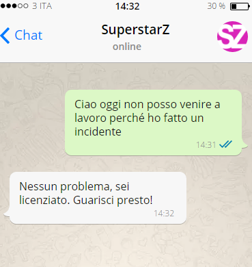 messaggio whatsapp fake