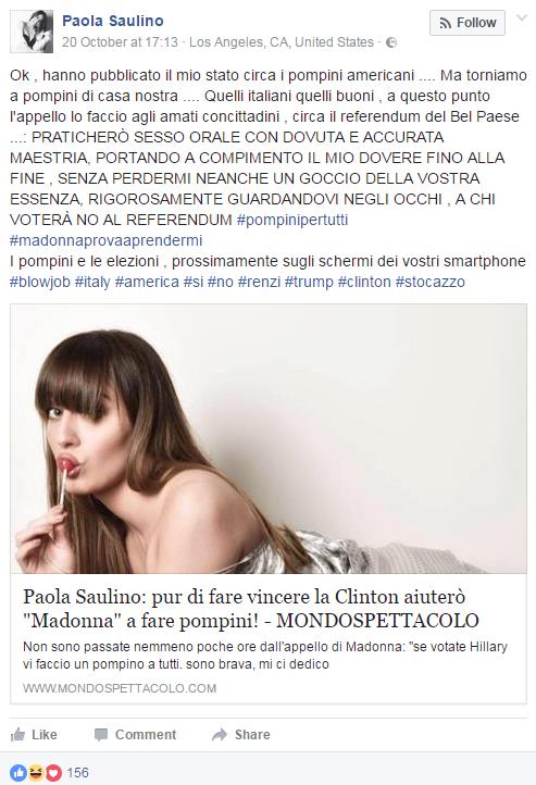 Paula saulino madona sesso orale