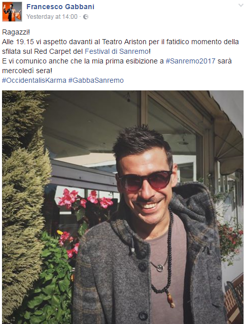 francesco gabbani occidentali's karma sanremo 2017 testo -1