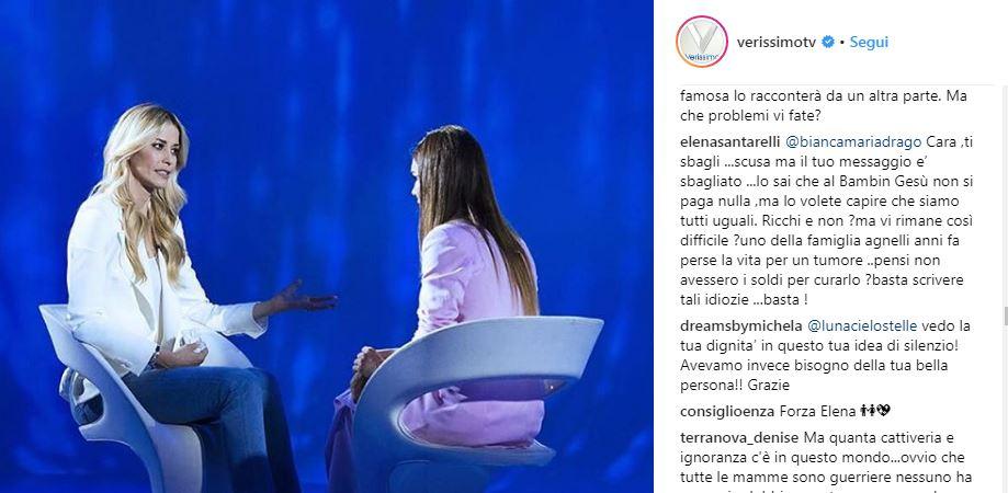 elena santarelli insulti verissimo 2