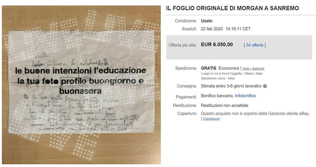 testo le brutte intenzioni venduto manoscritto beneficenza sla