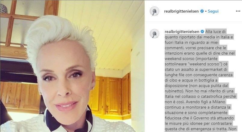 brigitte nielsen italia senza cibo e acqua coronavirus video tv americana
