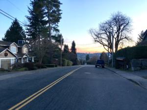 strada di Seattle alla mattina