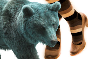 orso blu con gambe di donna
