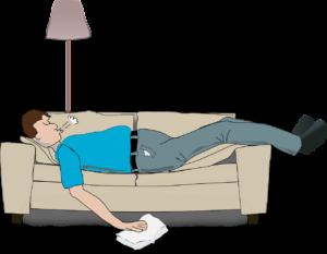 disegno di uomo che russa sul divano