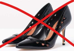 scarpe coi tacchi vietate