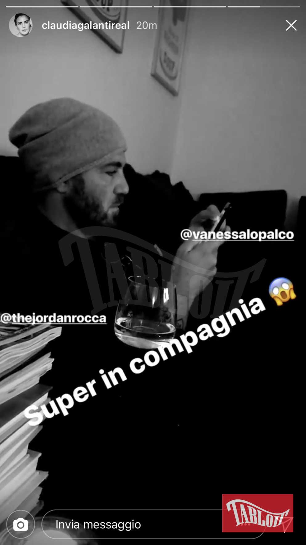 La storia di Instagram pubblicata da Claudia Galanti e che ufficializza la relazione con Jordan Rocca