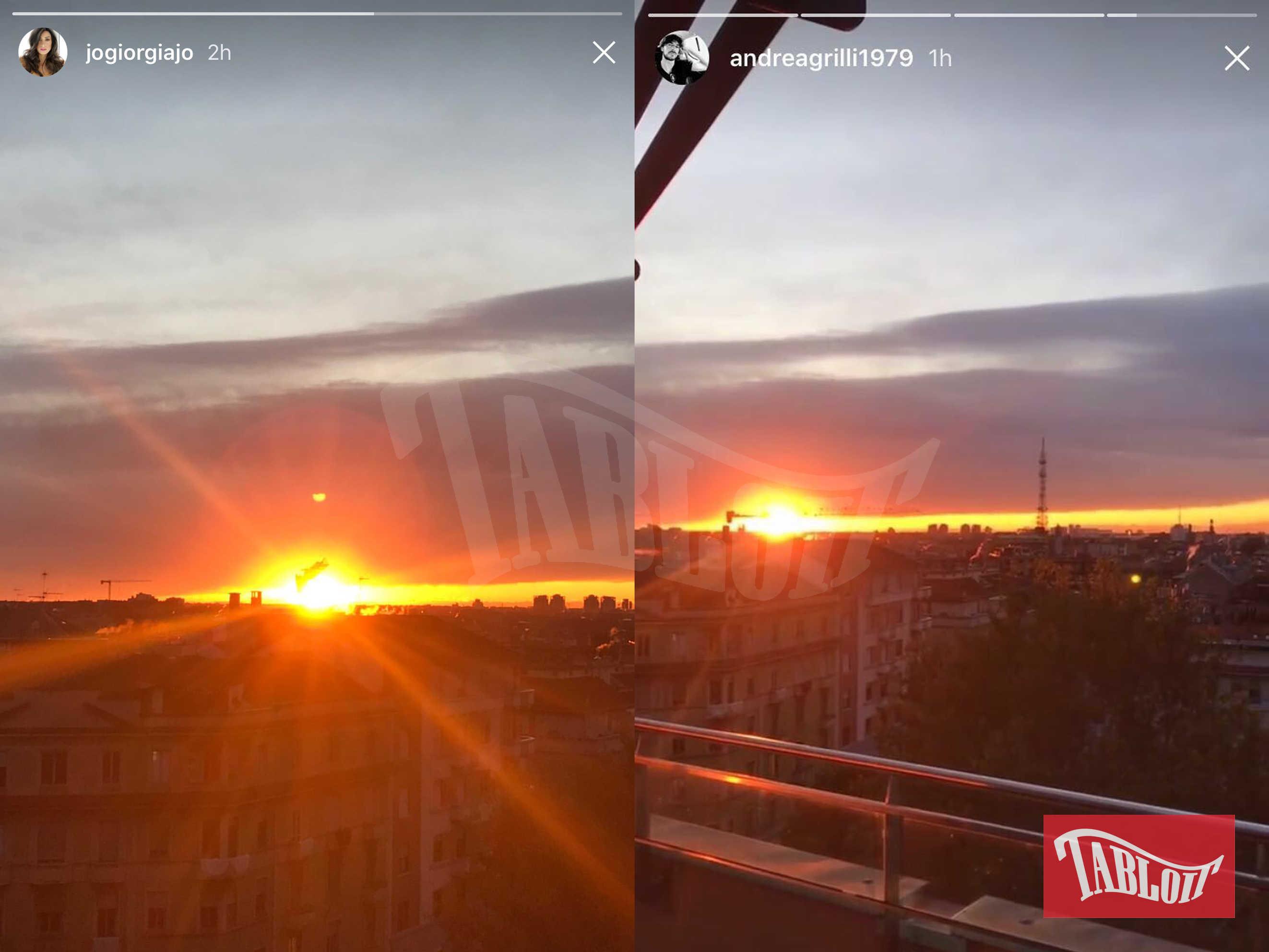 Ieri Giorgia Gabriele e Andrea Grilli hanno pubblicato la foto del tramonto dallo stesso punto di vista: l'attico di Andrea in zona Corso Italia a Milano