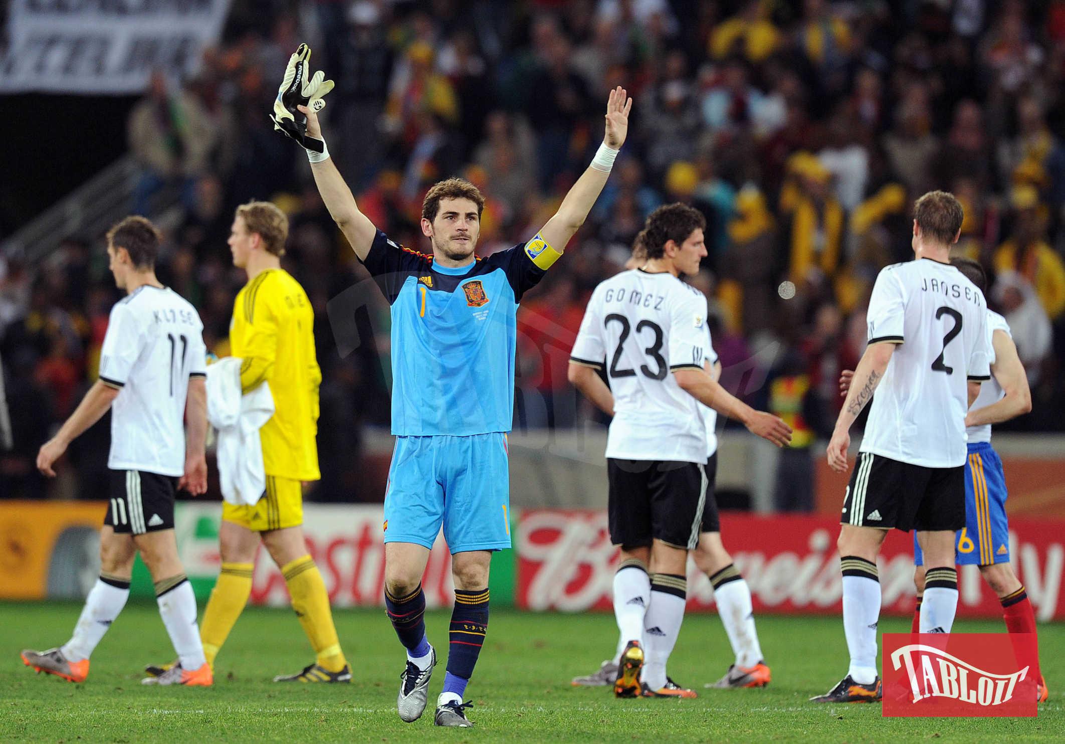 ker Casillas a Durban, Sud Africa, durante una partita nell'ambito della Fifa World Cup 2010