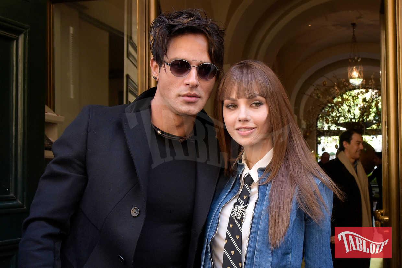 Gabriel Garko e Adua Del Vesco paparazzati durante un pranzo all'Hotel De Russie di Roma nel 2016