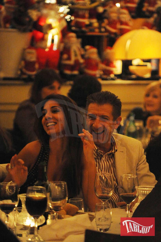 Ezio Greggio a cena con la fidanzata Simona Gobbi al ristorante La Briciola a Milano