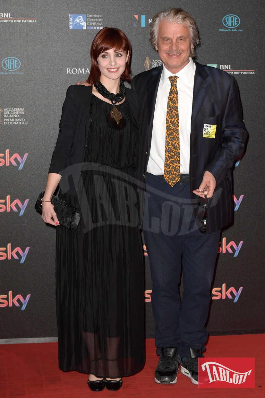 Michele Placido e Federica Vincenti ai David di Donatello nell'aprile 2016