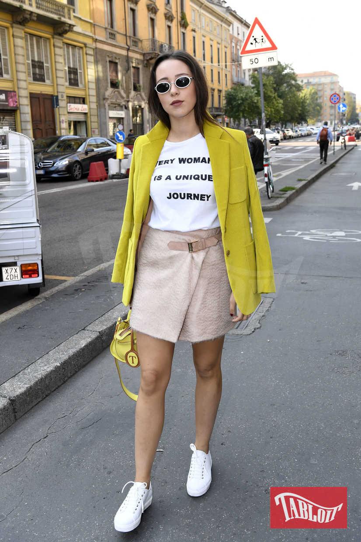Aurora Ramazzotti dopo la sfilata di Trussardi in occasione della settimana della moda di Milano, il 24 settembre