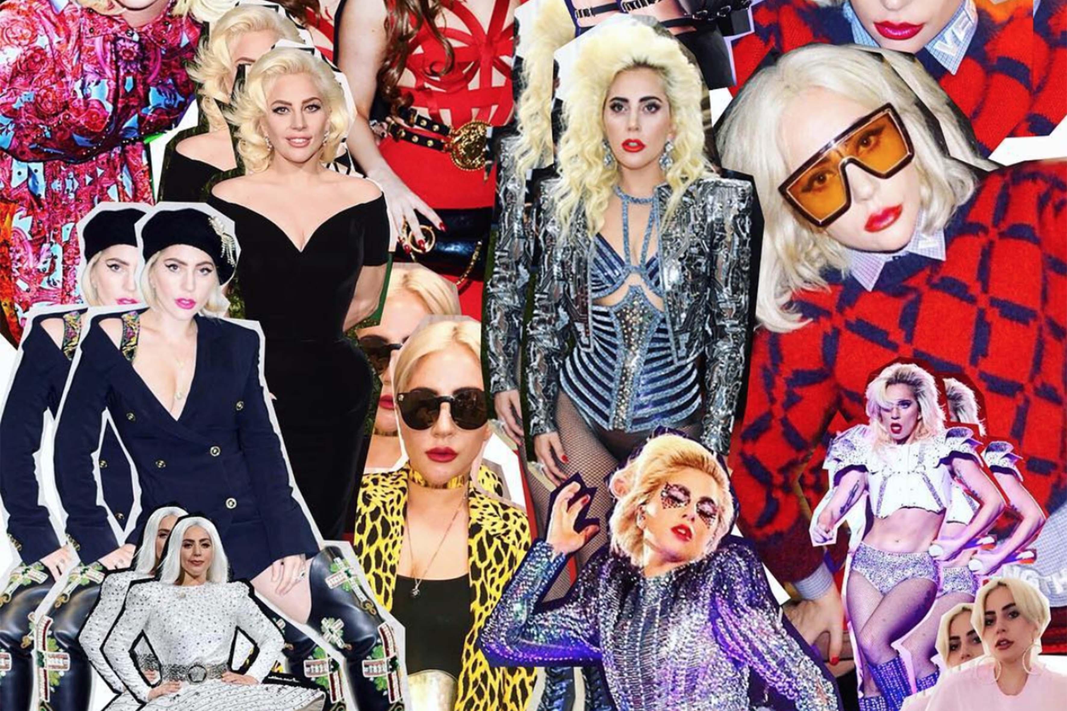 Lady Gaga e i suoi tantissimi outfit Versace: il collage è stato pubblicato da Donatella Versace su Instagram