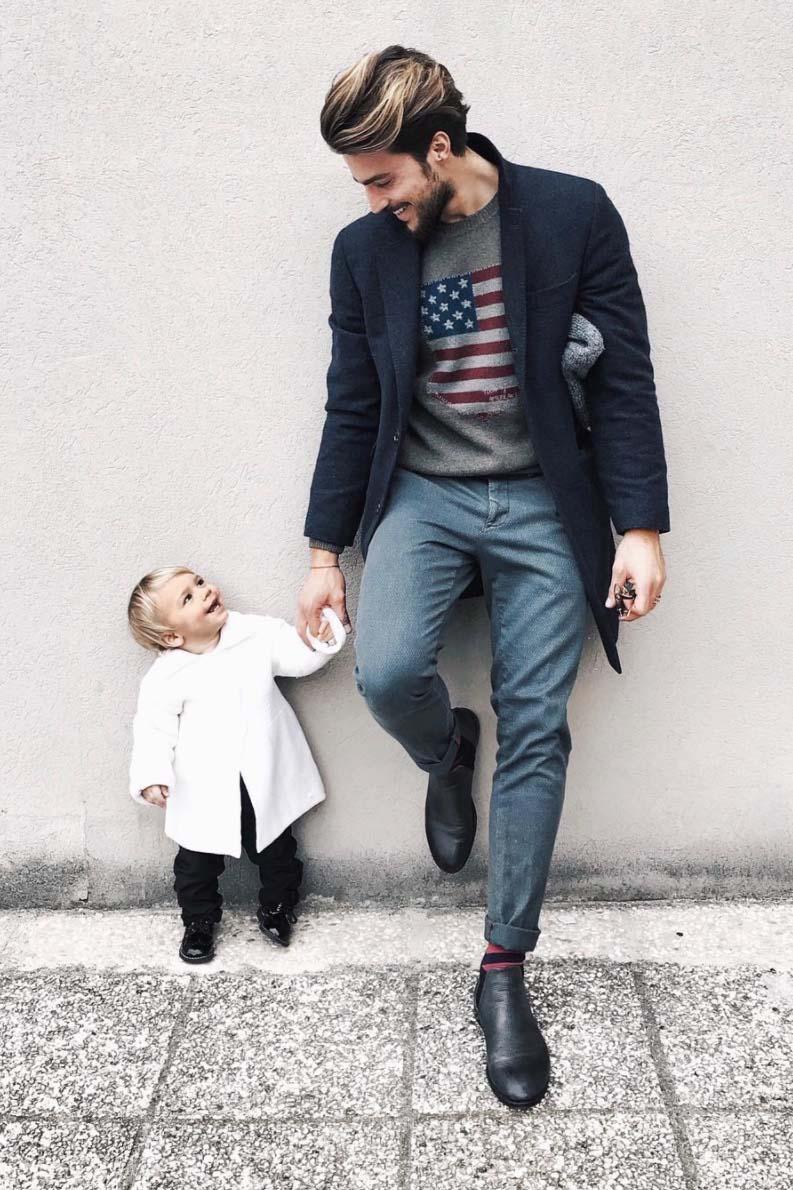 Mariano Di Vaio con il figlio Nathan Leone