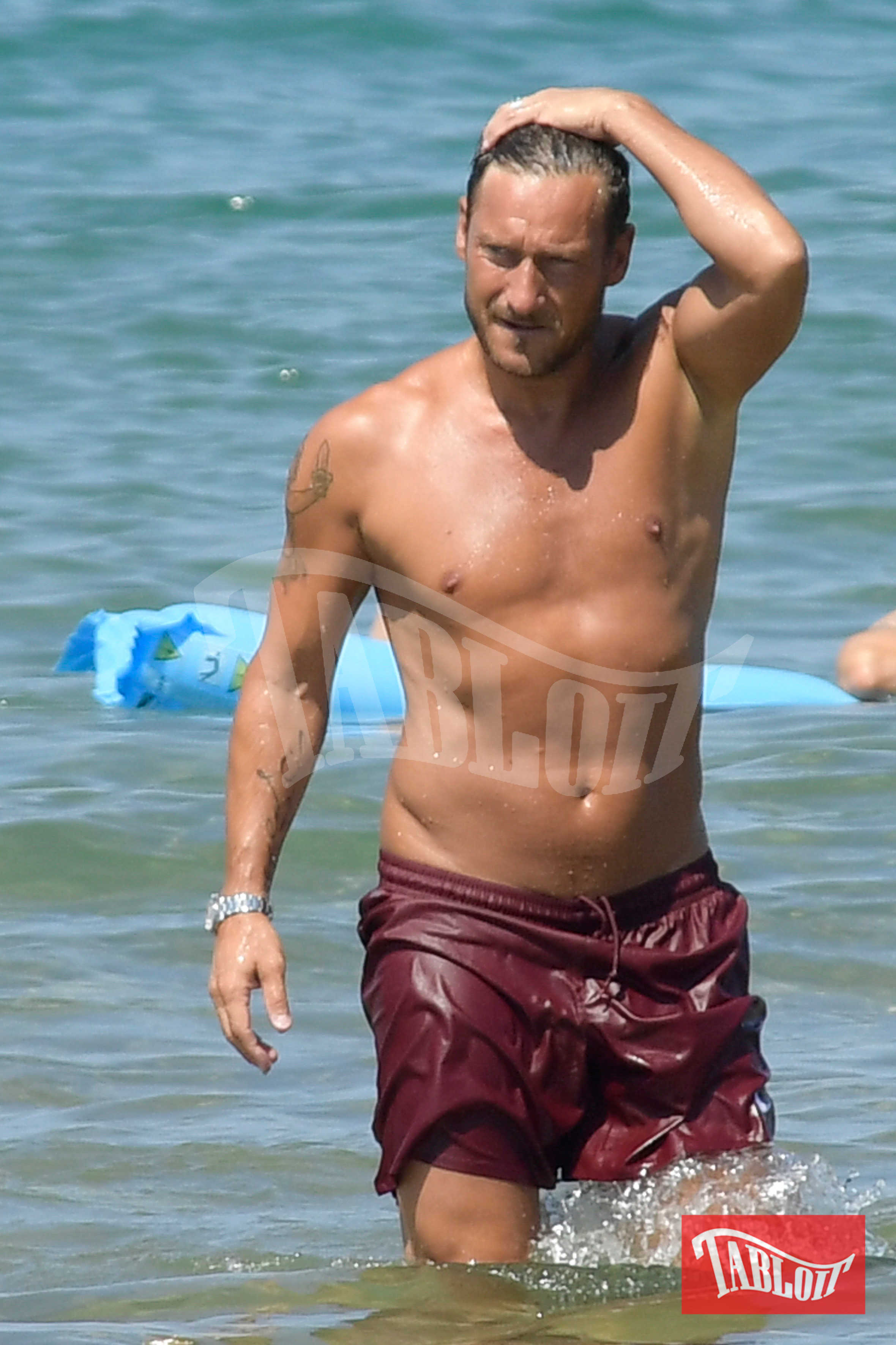 Francesco Totti durante un momento di relax a Sabaudia