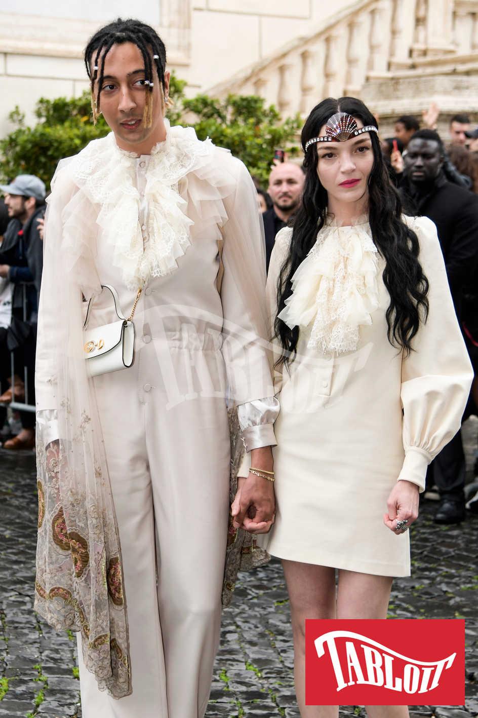 Ghali e Maria Carla Boscono a roma per Gucci