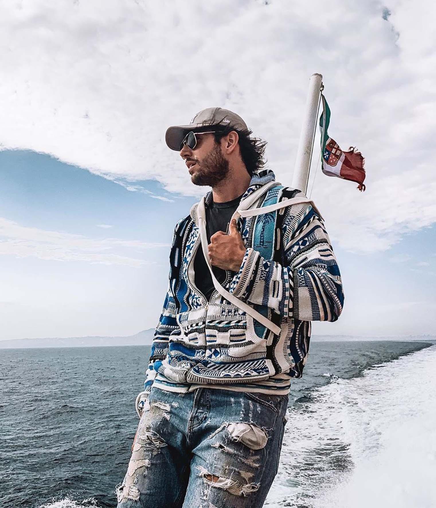 Ignazio Moser in barca a Capri