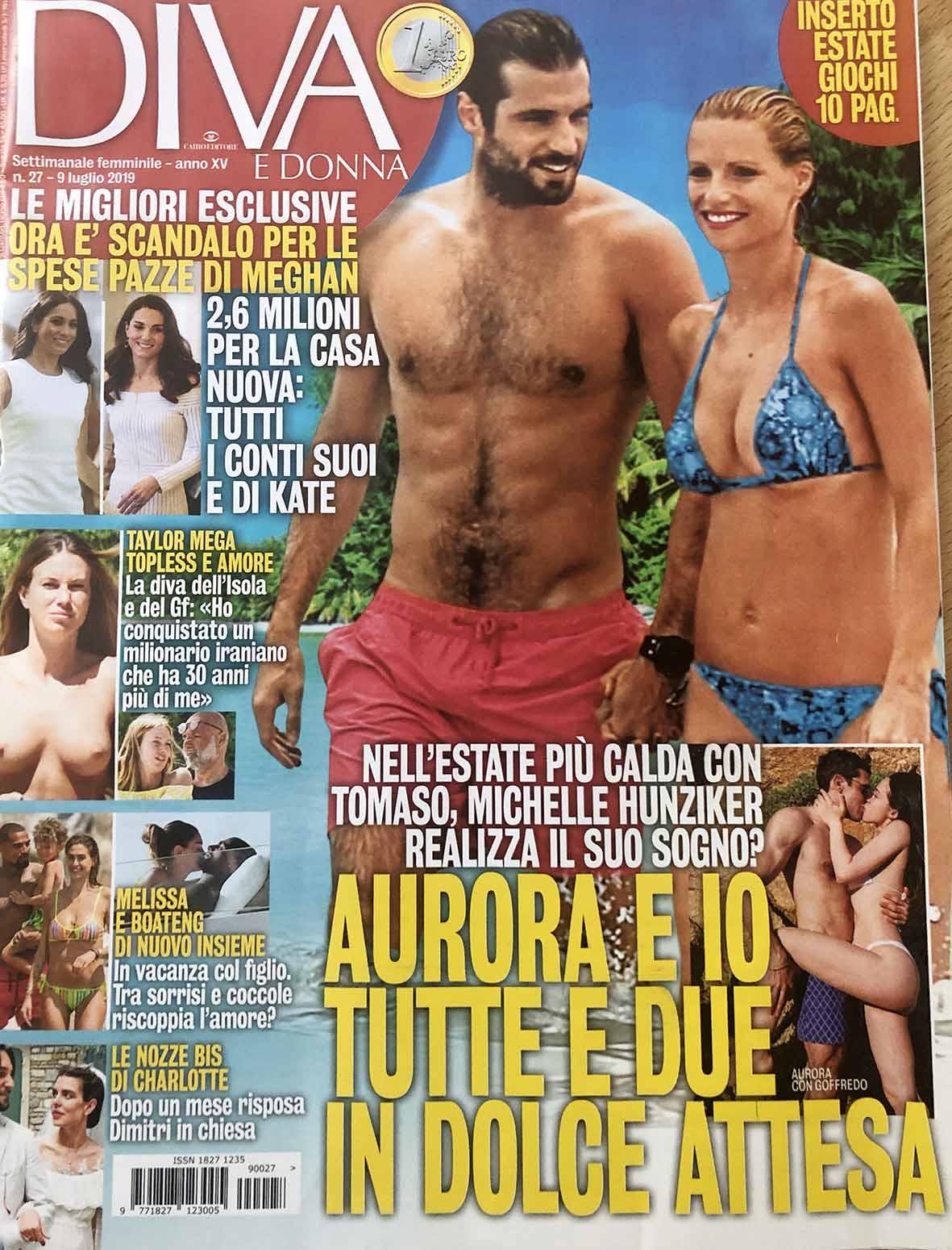 La copertina del magazine con la notizia della gravidanza di Michelle e Aurora