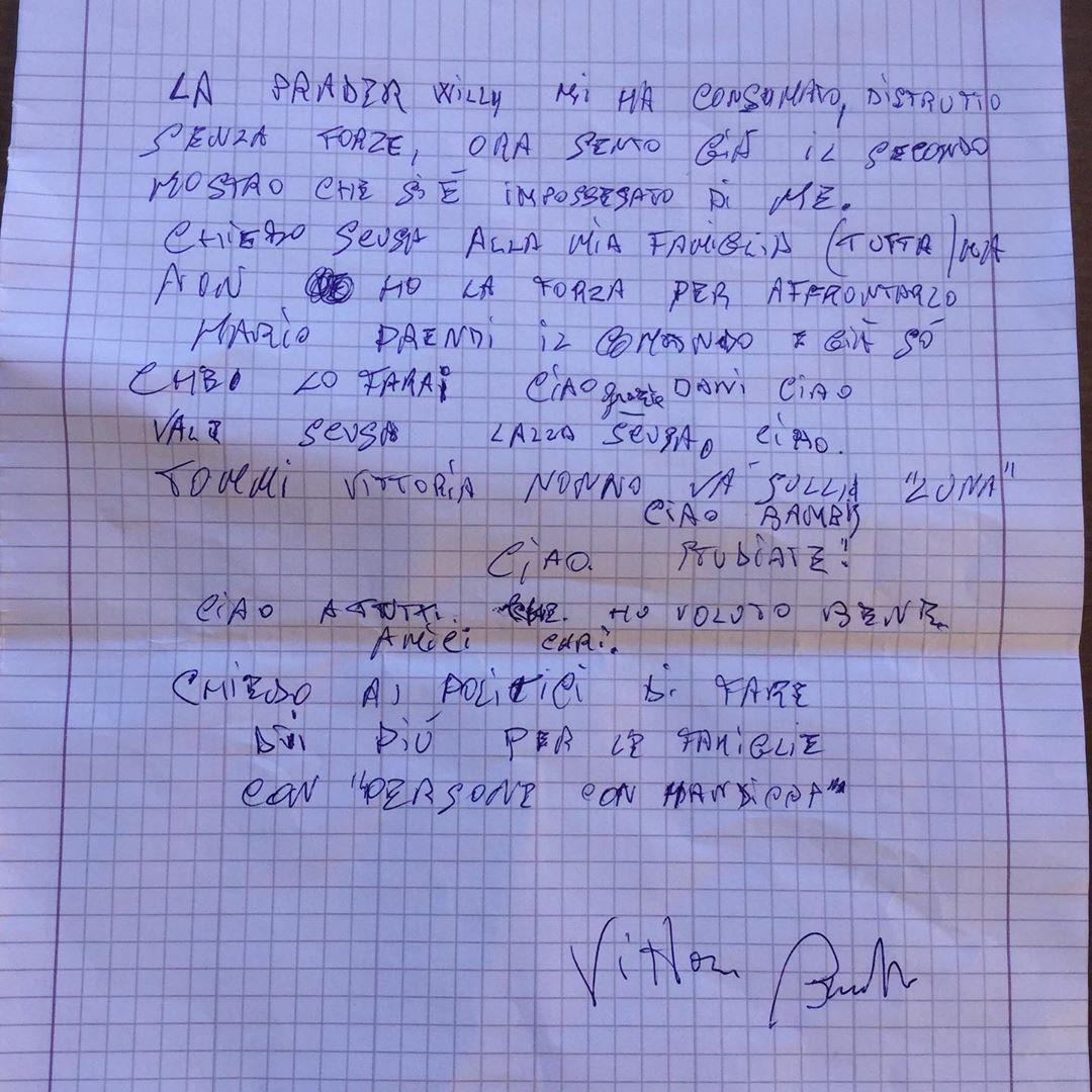 La lettera pubblicata scritta dallo zio prima di commettere il gesto estremo e poi pubblicata su Instagram da Elena Santarelli