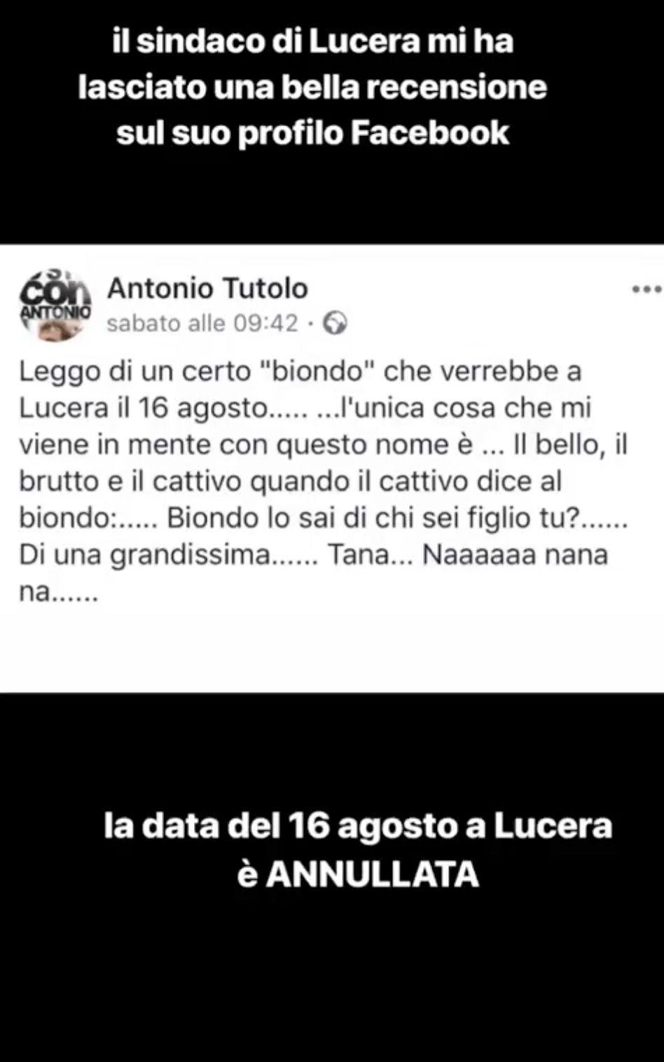La storia Instagram di Biondo che riprende il post su Facebook del sindaco di Lucera
