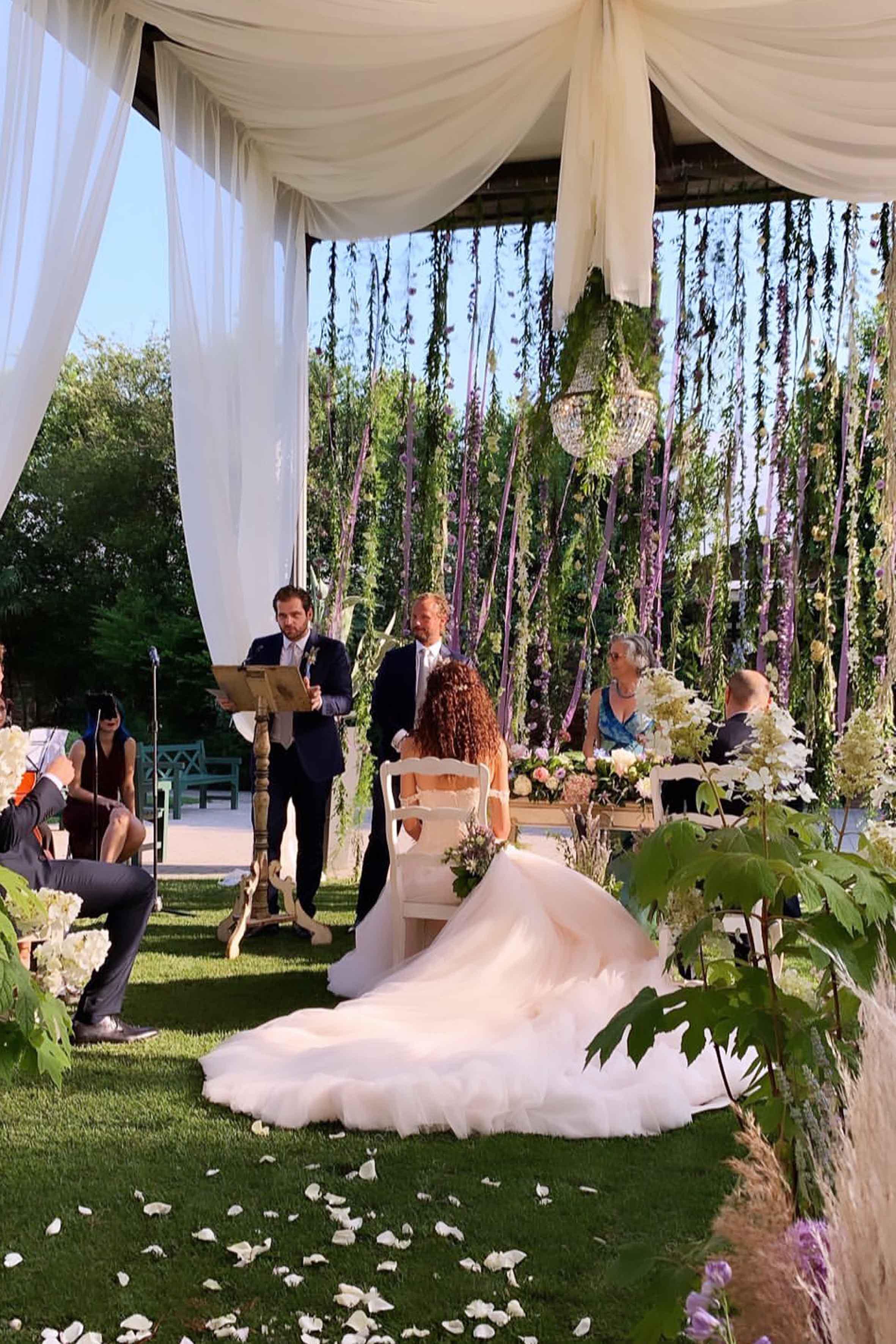 Tomaso Trussardi, testimone dello sposo, durante la cerimonia