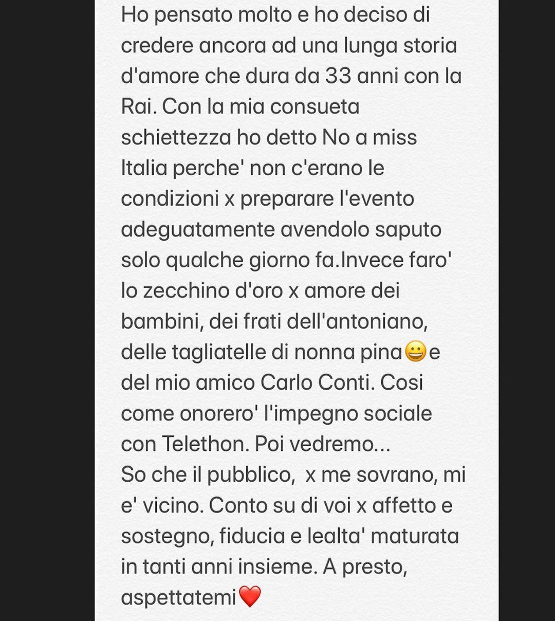 Il post Instagram pubblicato da Antonella Clerici