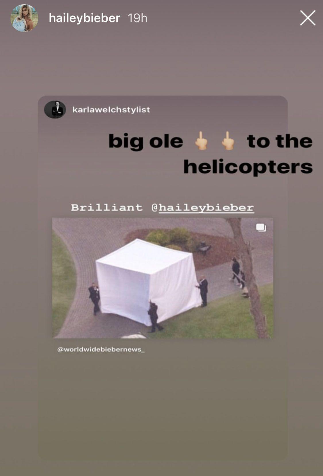 La storia Instagram pubblicata da Hailey Bieber
