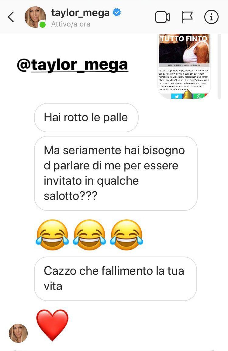 Lo scambio di messaggi tra Taylor Mega e il fotografo Alan Fiordelmondo