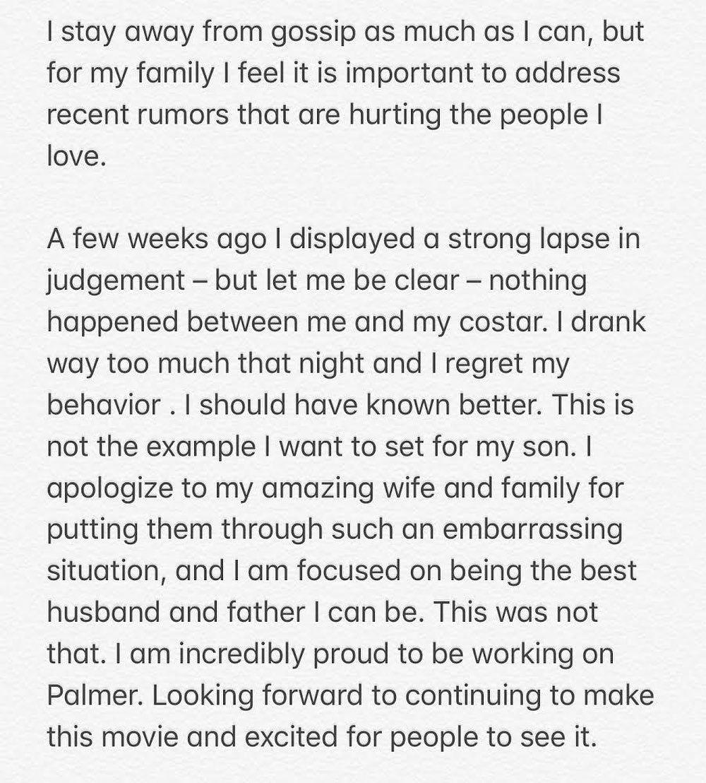Il post Instagram di scuse pubblicato da Justin Timberlake