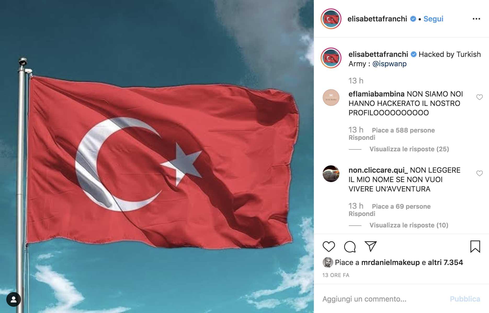 Il profilo Instagram di Elisabetta Franchi dopo aver subito l'attacco degli hacker