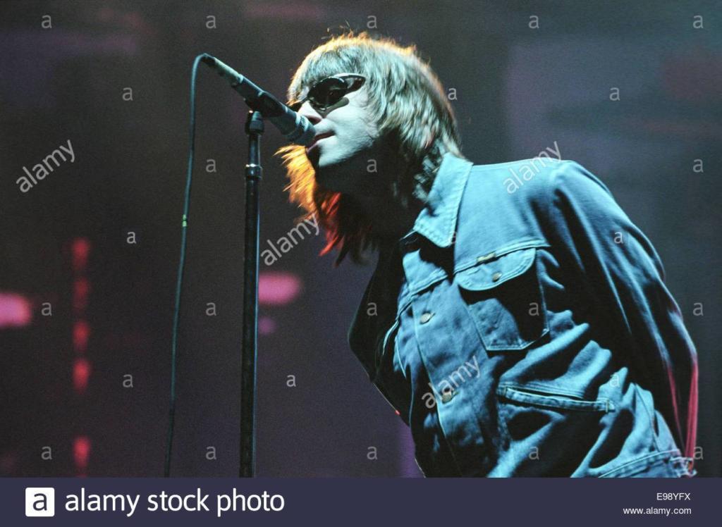 Liam Gallagher nella sua tipica posa da concerto