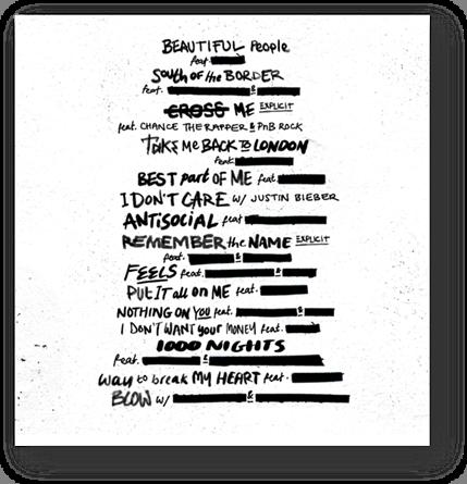 Ed Sheeran Tracklist No6. Collaborations Project